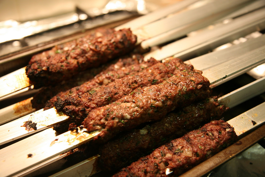 Meat of Lebanese Kafta on Skewers