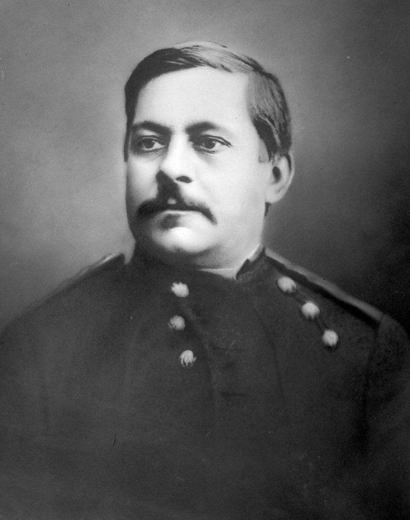 picture of a man. Black and white. In uniform from the 1800s. Picture of Marcus Reno.