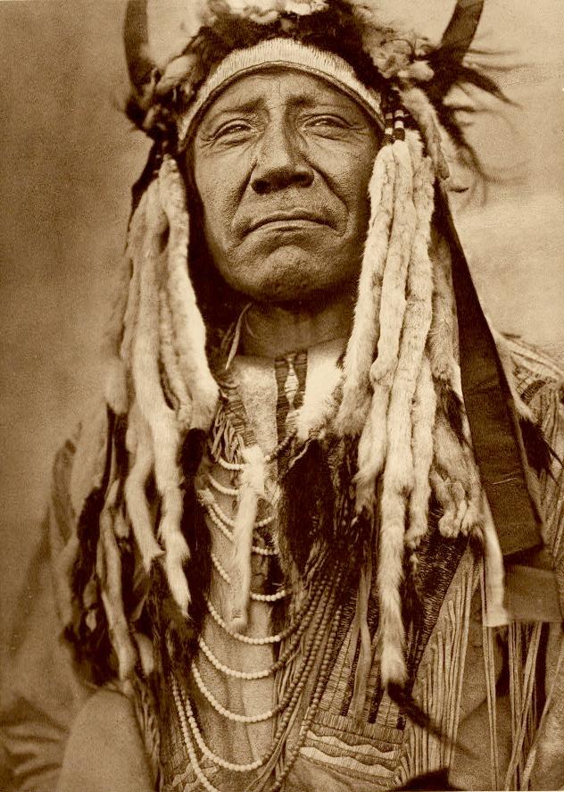 Native American Two Moons in buffalo headdress.