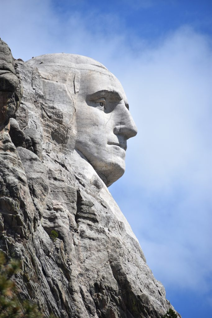 George Washington's profile from turnout. Gray rock carved with just face